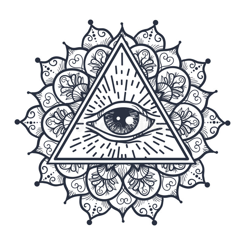 Полностью видя глаз в треугольнике и Mandal бесплатная иллюстрация