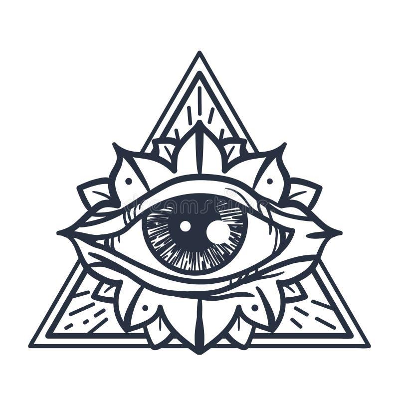Полностью видя глаз в треугольнике иллюстрация штока