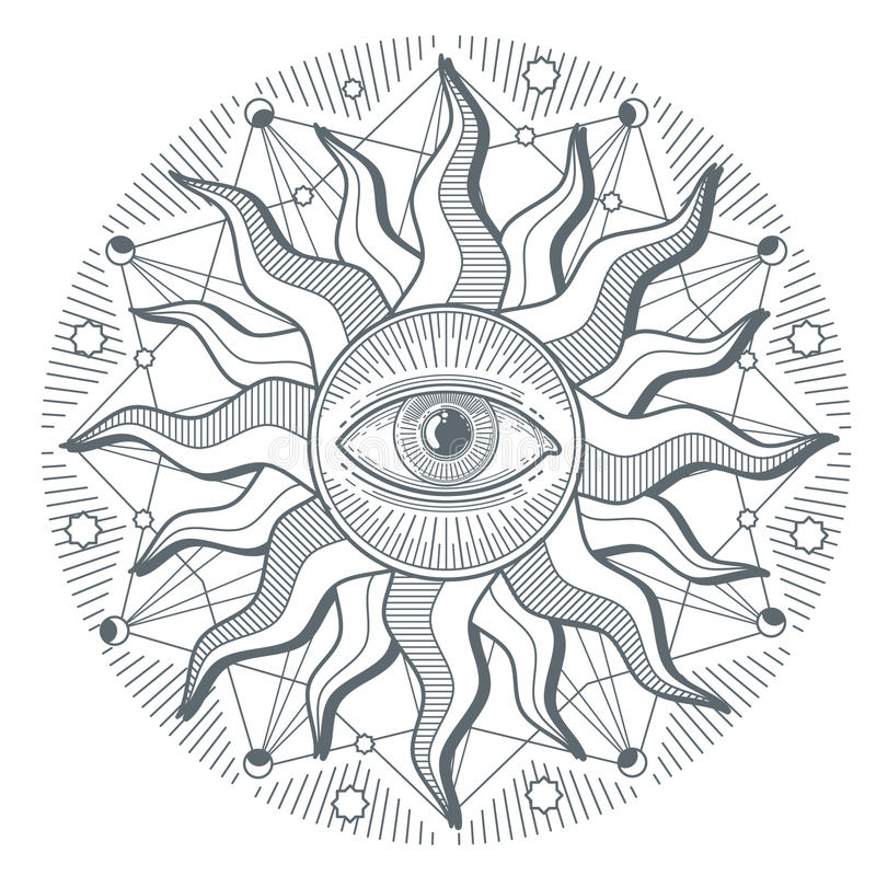 Полностью видя знак масонства вектора международного порядка illuminati глаза новый иллюстрация вектора