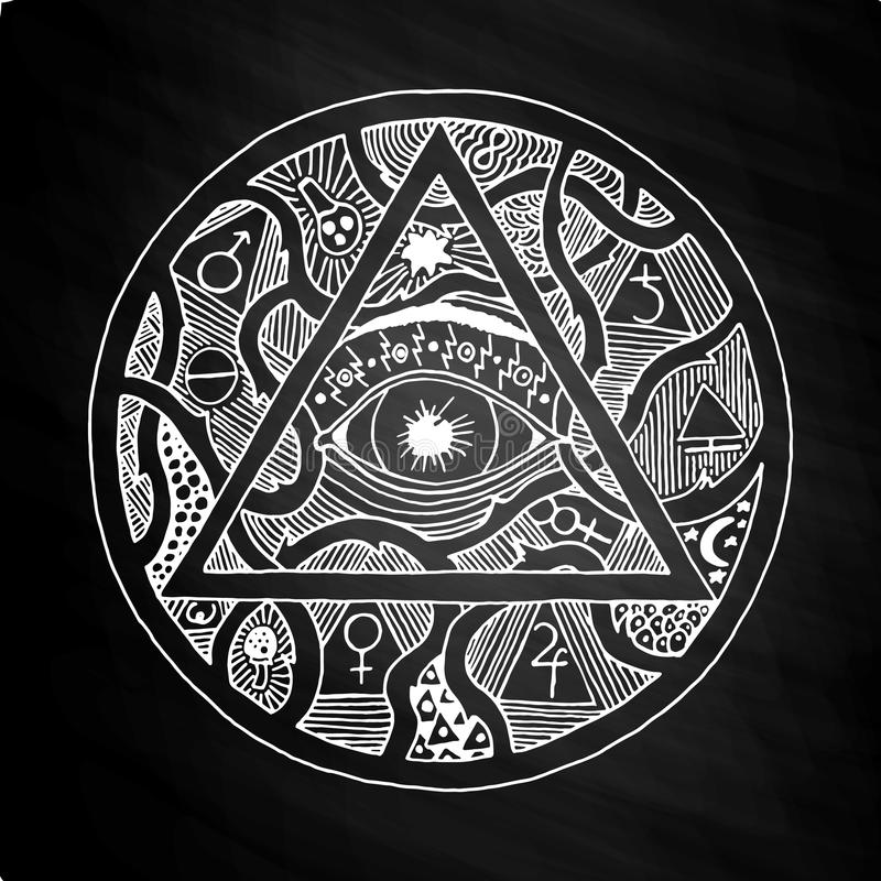Полностью видя дизайн символа пирамиды глаза на доске бесплатная иллюстрация
