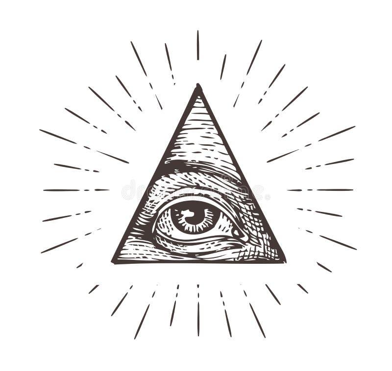 полностью видя символ глаза также вектор иллюстрации притяжки corel иллюстрация вектора