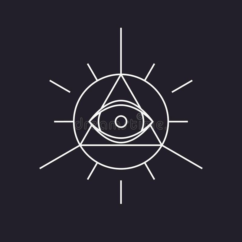 Полностью видя символ, современная линия дизайн, вектор бесплатная иллюстрация