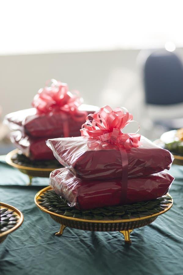 поднос свадебной церемонии Таиланда подарка стоковое фото