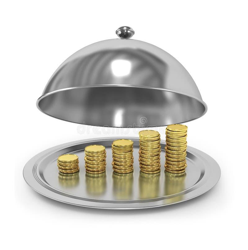 Поднос с золотыми монетками иллюстрация штока