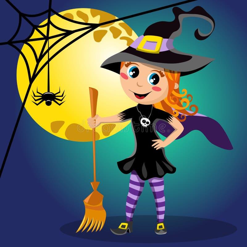 Полнолуние костюма хеллоуина ведьмы ребенк иллюстрация штока