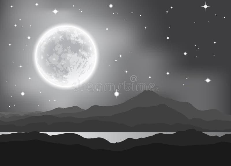 Полнолуние над горами и озером иллюстрация вектора