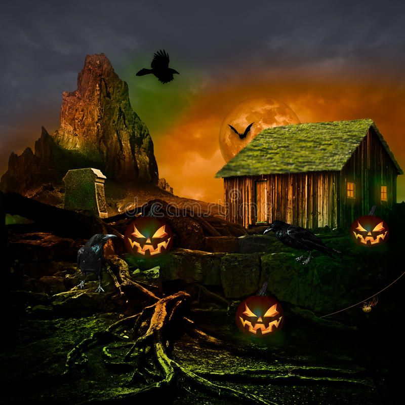 Полнолуние предпосылки хеллоуина страшное преследовало камень кладбища дома тягчайший, черный фонарик Джека o тыквы паука летучей  иллюстрация вектора
