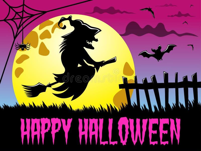 Полнолуние счастливой ведьмы летания силуэта предпосылки хеллоуина большое иллюстрация штока