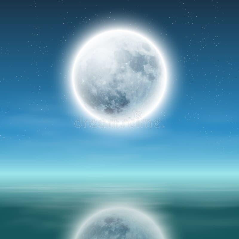 Полнолуние с отражением на воде на ноче. иллюстрация вектора