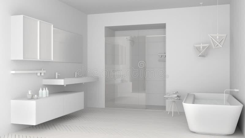 Полный белый проект минималистской яркой ванной комнаты с двойным si бесплатная иллюстрация