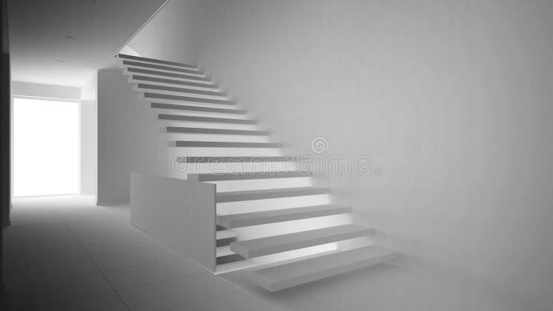 Полный белый проект современного вестибюля с деревянными staircas иллюстрация вектора