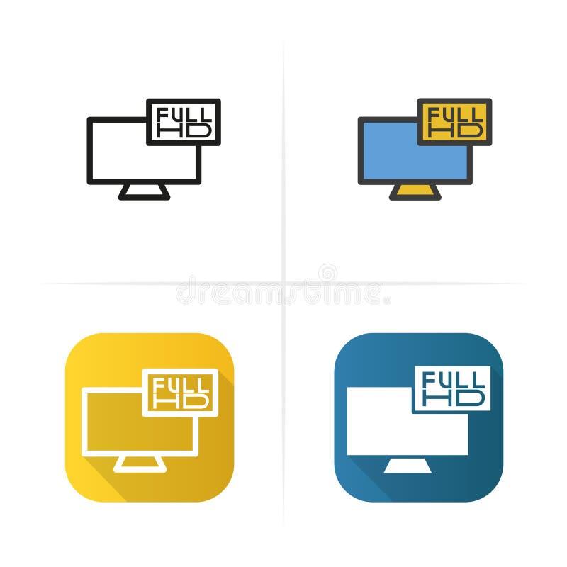 Полный значок телевидения HD Плоские стили дизайна, линейных и цвета Изолированные иллюстрации иллюстрация штока