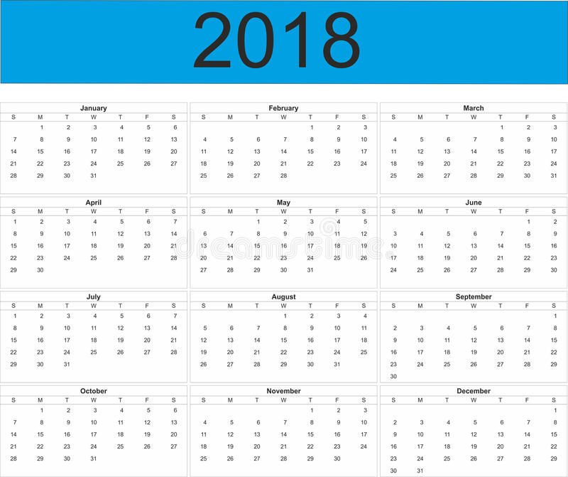 Полный календарь года 2018 иллюстрация вектора