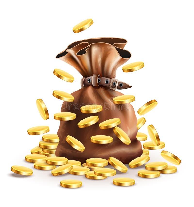 Полный мешок с деньгами и падая золотом бесплатная иллюстрация