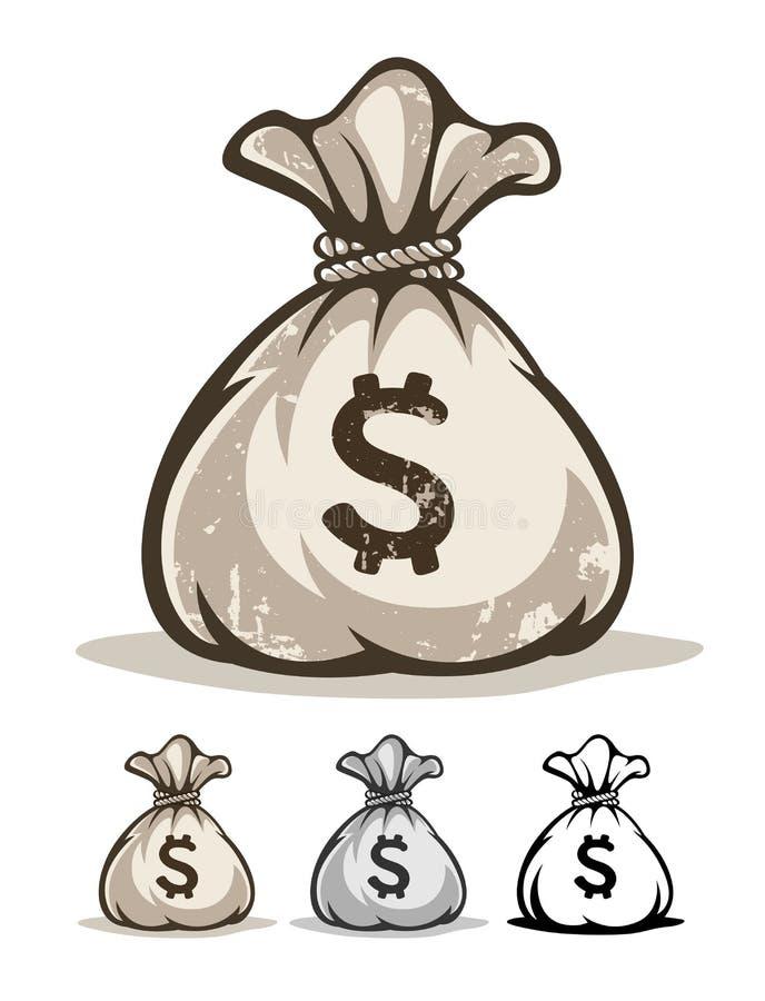 Полный мешок с долларами денег иллюстрация штока