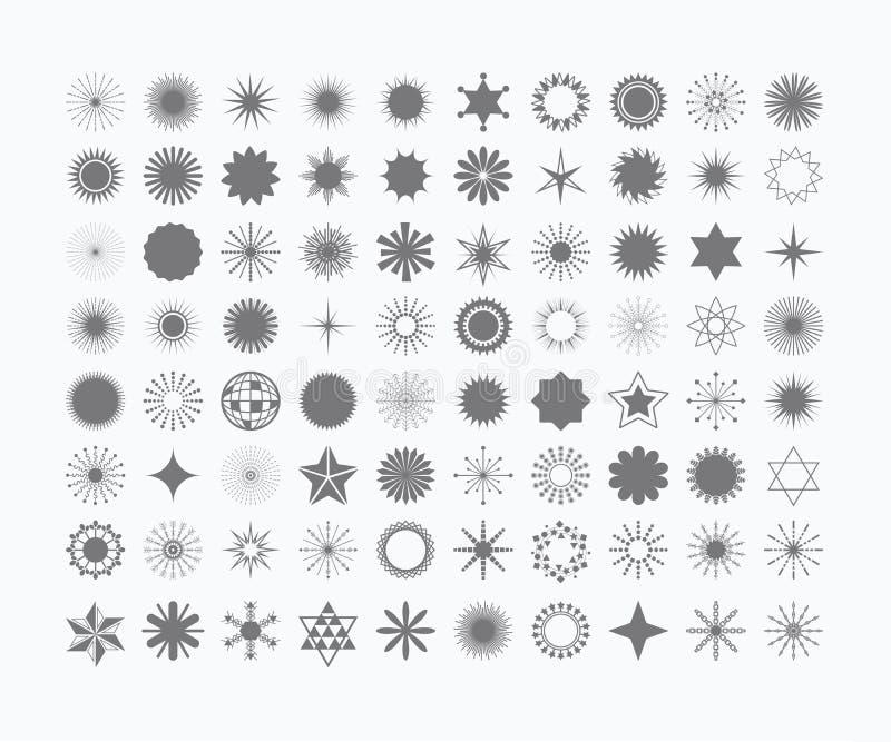 Полный набор 80 черных звезд и комплекта символов иллюстрация штока