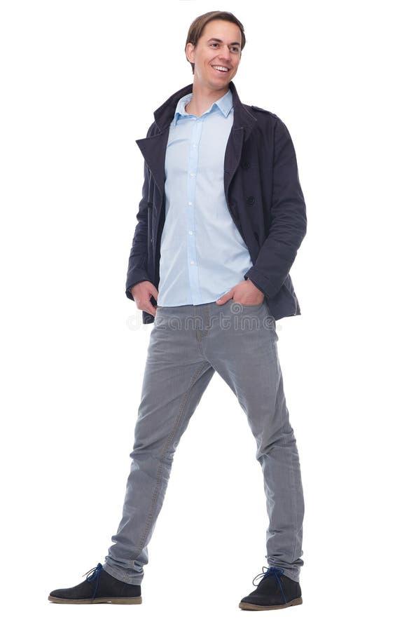Полный портрет тела красивого молодого человека стоковое изображение