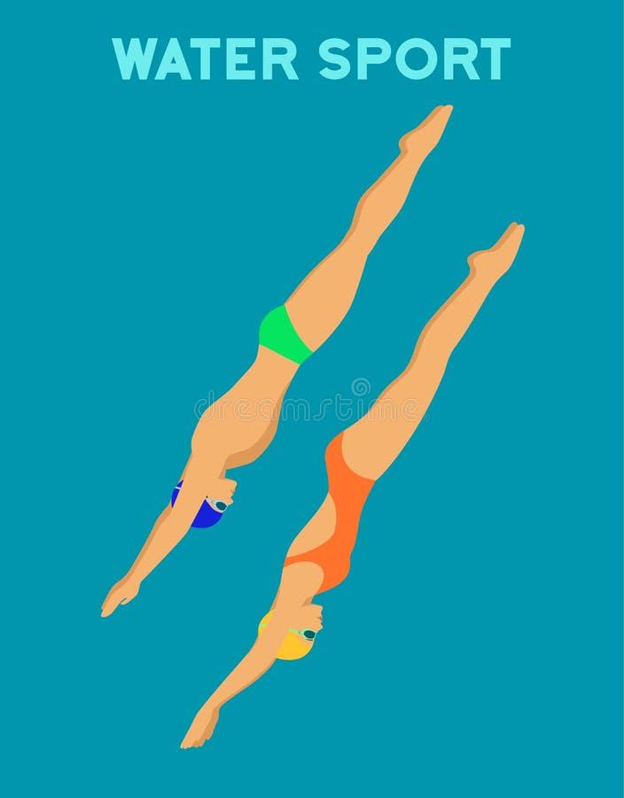 Подныривание женщины и человека в бассейн иллюстрация штока