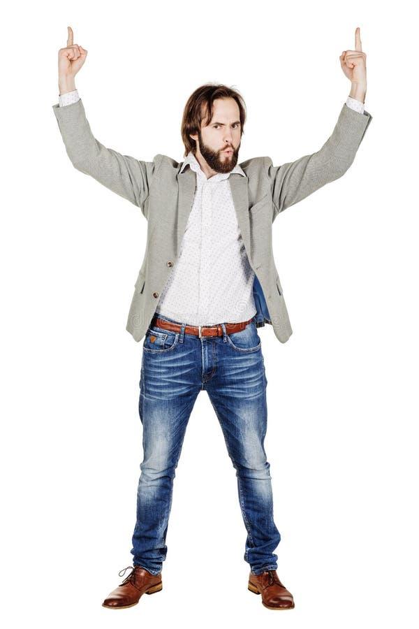 Поднятое удерживание бизнесмена подготовляет и вручает вверх эмоции, уход за лицом e стоковое изображение rf