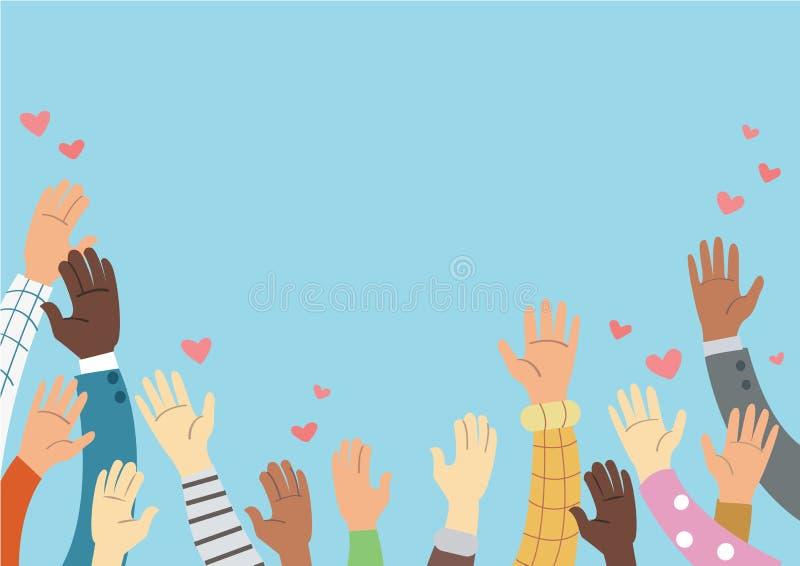 Поднятые руки вызываясь добровольцем и голубая концепция вектора предпосылки бесплатная иллюстрация