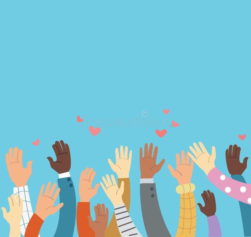 Поднятые руки вызываясь добровольцем и голубая концепция вектора предпосылки иллюстрация вектора