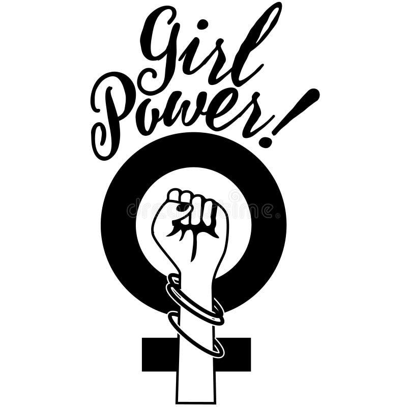 Поднятый кулак силы девушки иллюстрация штока