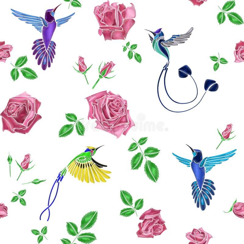 Подняла и вышивка птицы бесплатная иллюстрация