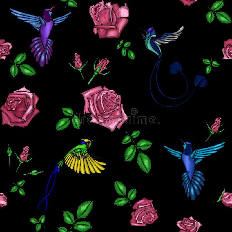 Подняла и вышивка птицы иллюстрация штока