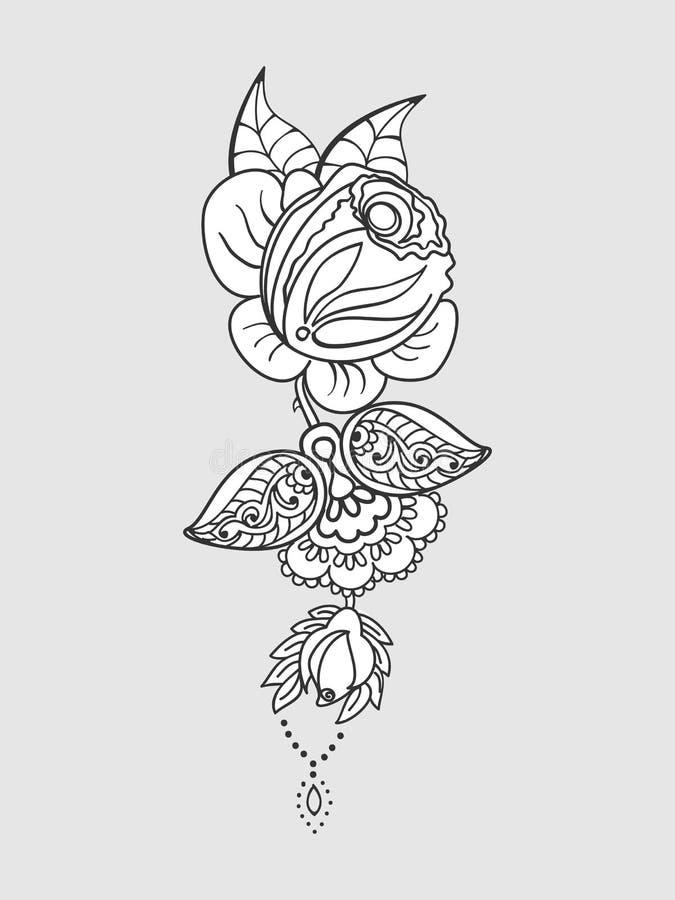 Подняла картина татуировки иллюстрация штока