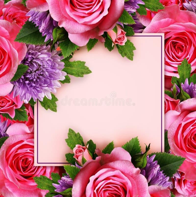 Подняли и цветки хризантемы с карточкой стоковые изображения rf