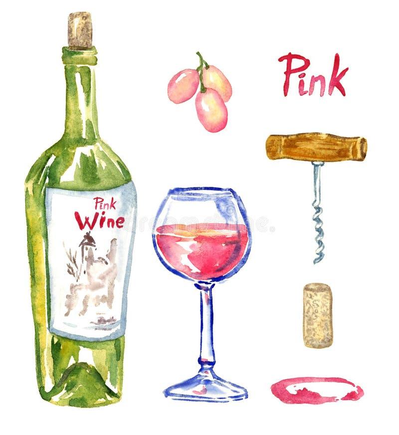Подняло & x28; pink& x29; бутылка вина, рюмка, виноградины, штопор, пробочка и пятно, изолированный комплект бесплатная иллюстрация