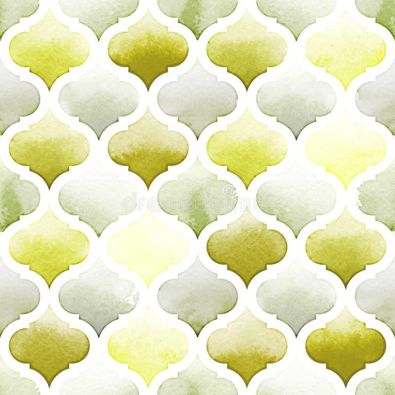 Половик Танжера зеленых цветов на белой предпосылке Картина акварели безшовная иллюстрация вектора