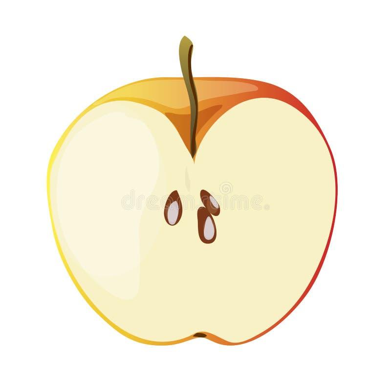 Половина красного яблока в стиле шаржа также вектор иллюстрации притяжки corel стоковое изображение