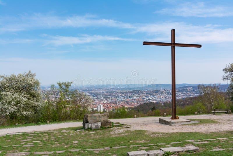 Положение памятника парка Birkenkopf Штутгарта обозревает взгляд Panora стоковые изображения rf