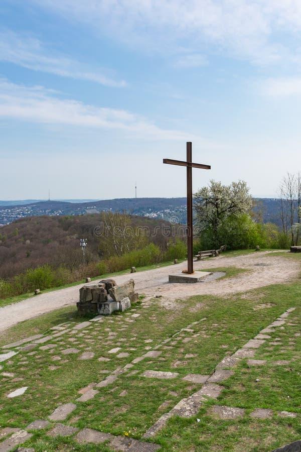 Положение памятника парка Birkenkopf Штутгарта обозревает взгляд Panora стоковая фотография rf
