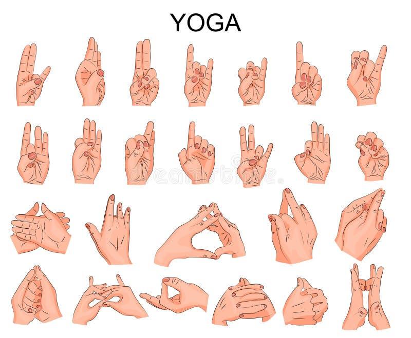 Положение рук в йоге, в раздумье иллюстрация штока