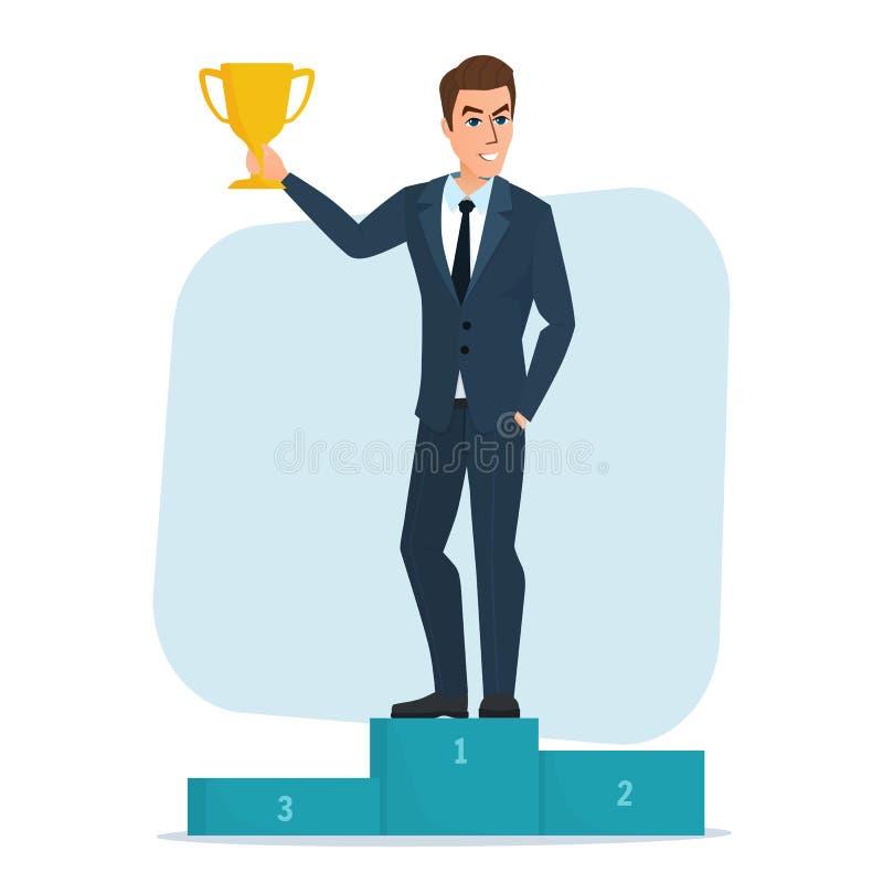 Положение характера бизнесмена успеха иллюстрации вектора бесплатная иллюстрация