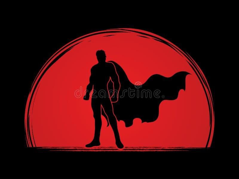 Положение человека супергероя бесплатная иллюстрация