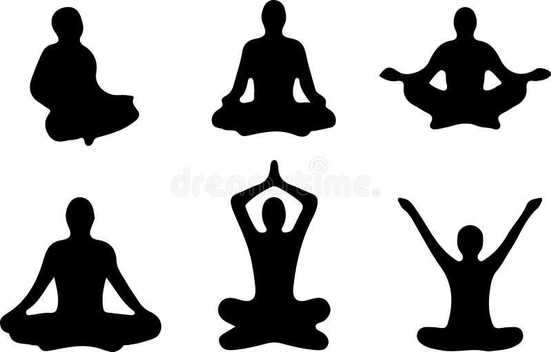 Положения йоги Silhouettes значок также вектор иллюстрации притяжки corel иллюстрация штока
