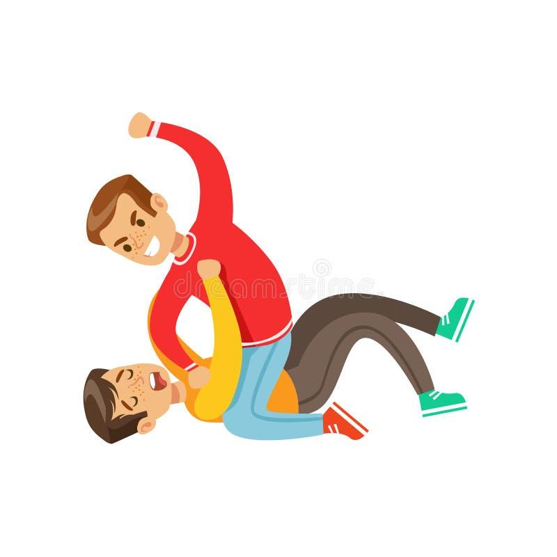 2 положения кулачного боя мальчиков, агрессивный задира в красном верхе длинного рукава воюя другого ребенк кладя на пол иллюстрация штока