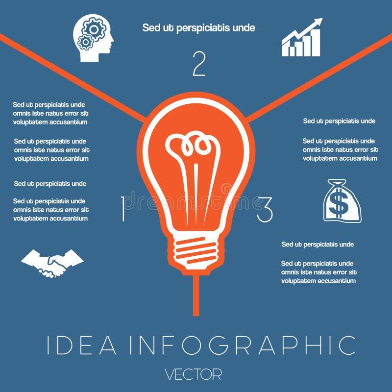 Положения шаблона 3 infographics электрической лампочки иллюстрация вектора
