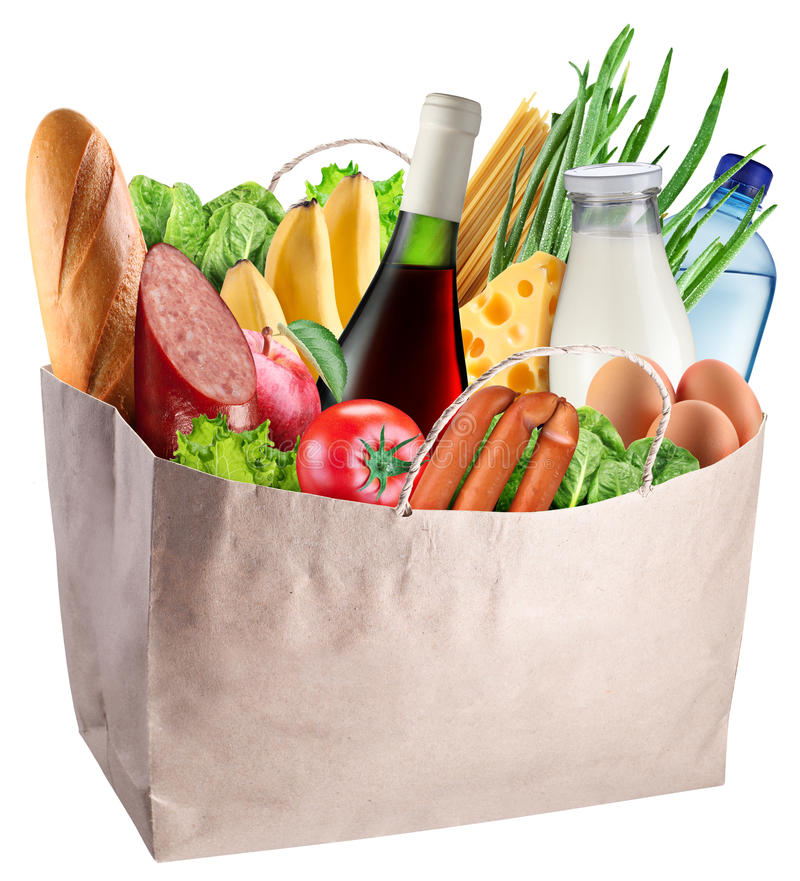 Положите в мешки при еда изолированная на белой предпосылке стоковые изображения
