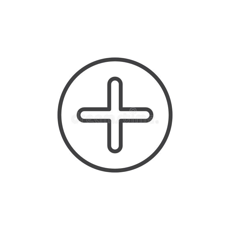 Положительная величина, добавляет круговую линию значок Перекрестный круглый простой знак бесплатная иллюстрация