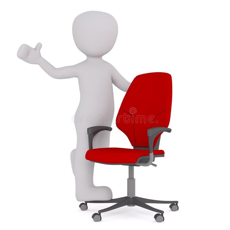 Положительная диаграмма шаржа с красным стулом офиса иллюстрация штока