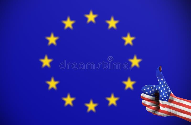 Положительная ориентация Соединенных Штатов для Европейского союза стоковое фото rf