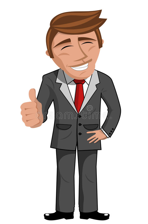 Положительный большой палец руки бизнесмена шаржа вверх бесплатная иллюстрация