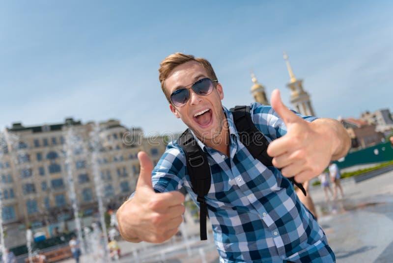 Положительный человек имея прогулку стоковая фотография rf