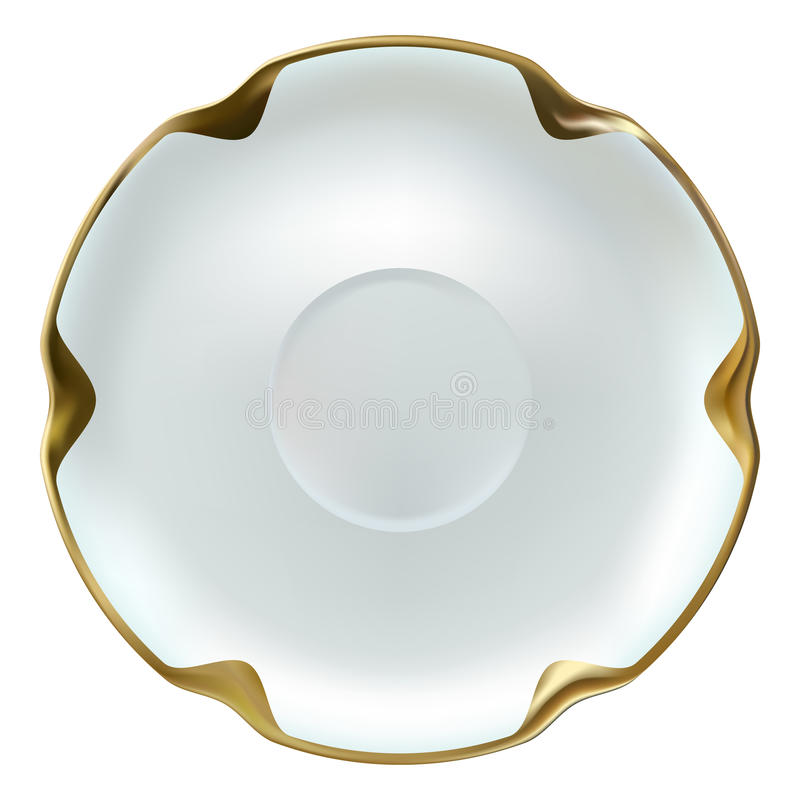 Поддонник реалистического точного фарфора белый с оправой золота бесплатная иллюстрация