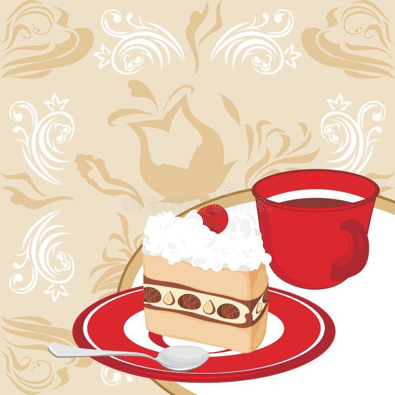 Поддонник с тортом и кофейной чашкой на ornamental  иллюстрация штока