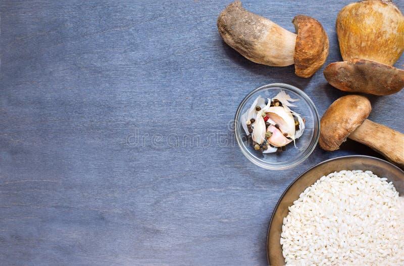 Подосиновик грибов с condiment и рисом стоковая фотография